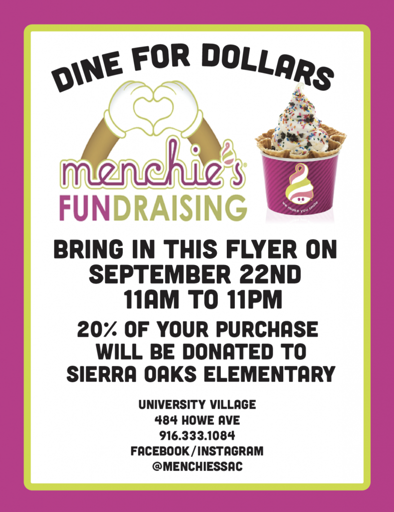 Menchie's FUNdraiser! (Dine for Dollars!) @ Menchie's Frozen Yogurt | Sacramento | California | United States